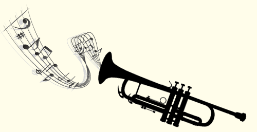 trumpet with musical notes